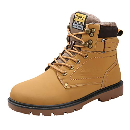 Men Fur Lined Combat Boots, Mosunx Platform Lace Up Waterproof Ankle Snow Boots Fall Winter Warm High Top Casual Shoes Riding Boots
