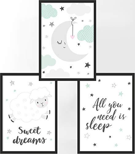 Kinderposter 3er-Set   3X DIN A3 Poster   Jungen & Mädchen   Kunstdruck fürs Kinderzimmer   Motiv: All You Need is Sleep