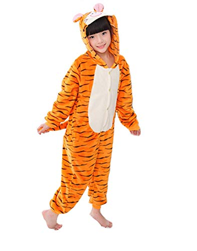 Pigiama Kigurumi Costume Animale da Bambini Bimbi Unisex per Carnevale, Halloween, Festa, Cosplay (Altezza 115-125cm/120 Tigre)