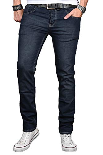 A. Salvarini Herren Designer Jeans Hose Stretch Basic Jeanshose Regular Slim [AS047 - W34 L36]