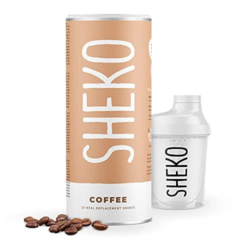 SHEKO Diät Shakes zum Abnehmen Kaffee mit Shaker   25 Portionen Eiweißpulver Kaffee Protein Shake zum Abnehmen   Ideal als Abnehm Shake