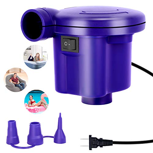 VOBAB Portable Quick-Fill Air Pump, Electric Air Pump with 3 Nozzles,110-120V AC Inflator/Deflator Pumps for Inflatable Cushions, Air Mattress Beds, Swimming Ring, Boats Pool Floats