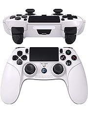 JOYSKY Wireless Controller Bluetooth Gamepad mit Dual Vibration Wiederaufladbarer Remote-Sechs-Achsen-Dual Vibration- und Audio Jack Controller (Reines Weiß)