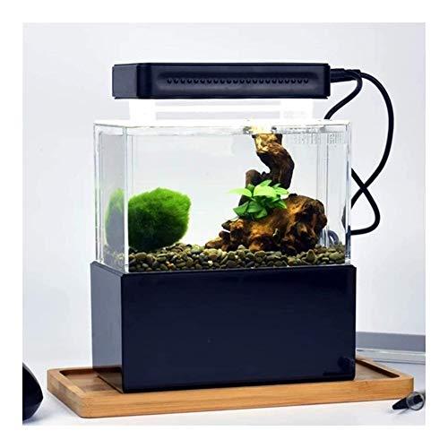 MAXIAOQIN Mini Tanque de Pescados del Escritorio Mini Tanque del Acuario Goldfish Bowl por Betta Peces pequeños de Oficina for el Negocio casero (Color : Black with LED Light)
