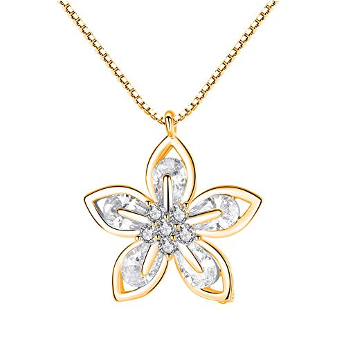 SONGAI Fashion Charming Necklace for Women&Fashion Women Bauhinia Cubic Zirconia Pendant Clavicle Chain Necklace Jewelry for Her,Colour:Golden Bracelets Earrings Rings Necklaces (Color : Golden)