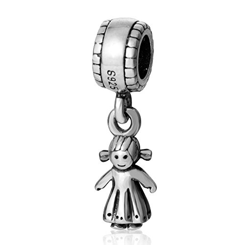 SoulBead Little Boy&girl Authentic 925 Sterling Silver Charm Beads (Girl) by Fits Pandora charms bracelet