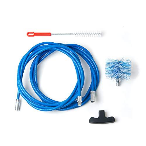 BARETTO Kit per la Pulizia della Stufa a Pellet - 2 prolunghe da 3 Metri, Curvatura Massima 90° - 1 Scovolo Standard in Nylon da 80mm