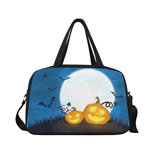 Sports Gym Bag Two Happy Pumpkins Moon On Blue Travel Bags Duffle Bag Overnight Shoulder Bag Workout Fitness Handbag Overnight Shoulder Bag for Outdoor
