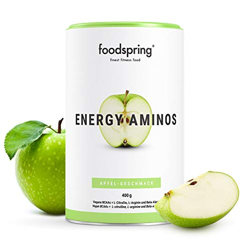 foodspring Energy Aminos, 400g, Apple, Clean Pre-Workout Booster, Gluten- and Lactose-Free, 100% Vegan