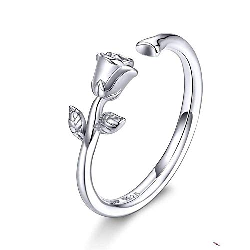 Anillo decorativo abierto para mujer, estilo vintage, ajustable, espinas abiertas y rosas 3D, anillo de flor de plata de ley 925, joyería para boda, fiesta, mujer, hombre, anillo de pareja