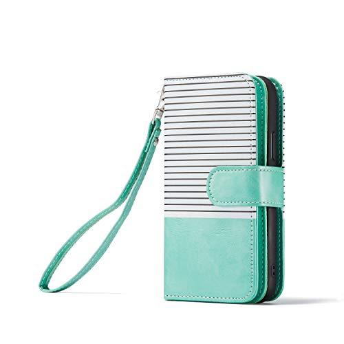 Xifanzi - Funda de Piel sintética Tipo Cartera para iPhone 11 y 9 Tarjetas, Verde Menta Rayas Blancas, iPhone 11 6.1'