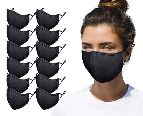 Simlu 12 Pack Premium Fabric Face Mask Reusable with Adjustable Elastic, 2 Layer,Cotton, Breathable, Nose Wire Black Cloth face Mask Washable Fits Men Women and Kids Made In USA