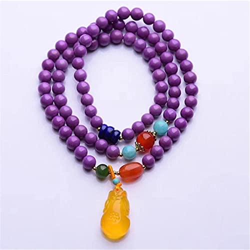 CLEARNICE Brazalete de Pulsera de Mica púrpura para Mujer, Pulsera de Cuentas de Buda de Piedra Natural con Encanto, Pulsera de ámbar con Colgante de Cheongsam, Collar de joyería