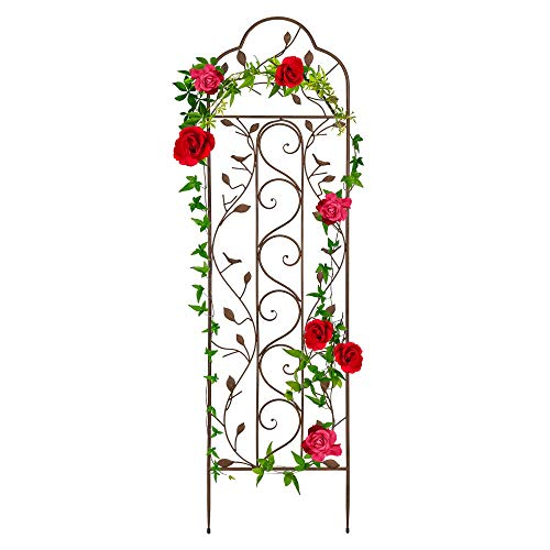 Best Choice Products 60x15in Iron Arched Garden Trellis Fence Panel w/Branches, Birds for Climbing Plants