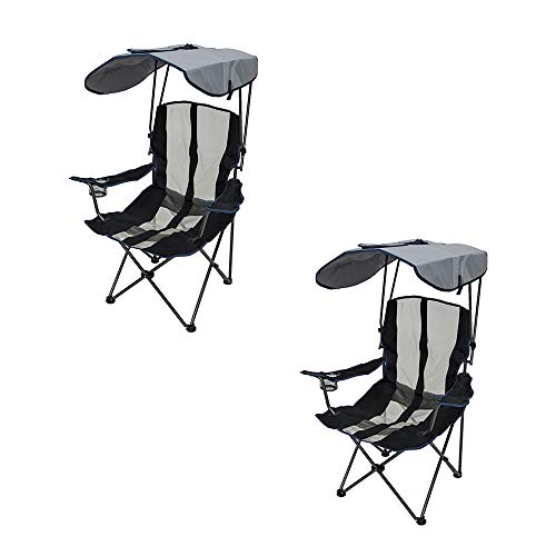 SwimWays Kelsyus UPF Portable Camping Folding Lawn Chair with Canopy, Navy (2 Pack)