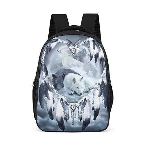 Dream Catcher Wolf Fashion Children's Backpack School Book Bag Backpack for Children Adults Gift for Boys Girls