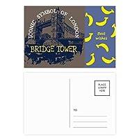 英国の英国ロンドンブリッジタワーの落書き バナナのポストカードセットサンクスカード郵送側20個