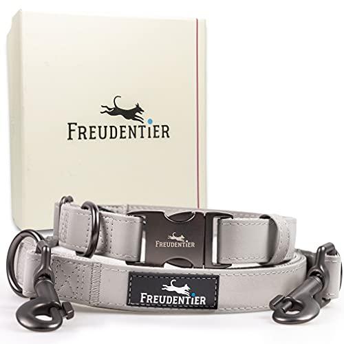Freudentier® Hundeleine (2m) + Hundehalsband im Set inkl. Geschenkbox | Stilechte Lederoptik mit Mattschwarz | Außergewöhnlich Elegant & Verstellbar (41-65cm)