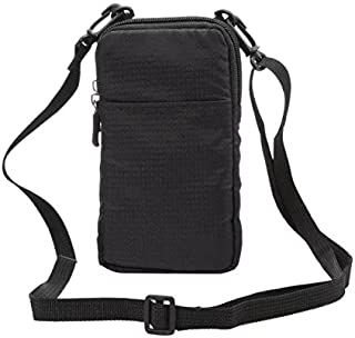 (Black) - PT Universal Multipurpose Carry Case Pouch Nylon Sporty Smartphone Holster Belt Clip Waist Bag For Iphone 7 Plus...