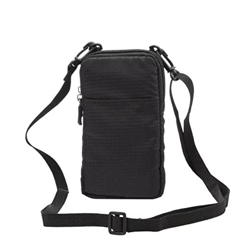 PT Universal Multipurpose Carry Case Pouch Nylon Sporty Smartphone Holster Belt Clip Waist Bag For Iphone 7 Plus Samsung Galaxy S7 Edge Note 5 Iphone 6S (Black)
