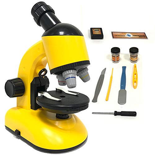 Kids Beginner Microscope 40X-800X with Optical Glass Lenses & Slides Educational Toys Birthday Gift for Kids and Students