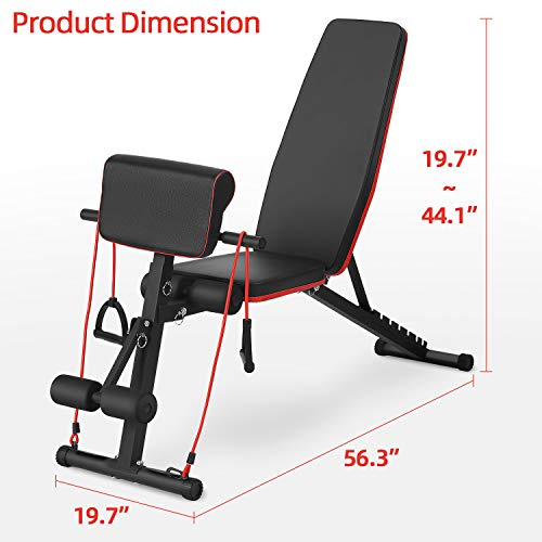Gymbong Multi-Functional Dumbbell Bench, Preacher Curl Bench, Incline Bench Adjustable, Hyperextension Bench, Adjustable Bench, Home Strength Training Fitness Workout Station