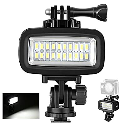 Neewer Waterproof Up to 131ft/40m Underwater 20 LED 700LM Flash Dimmable Fill Night Light with 3 Color Filter(White, Orange, Purple) for GoPro Hero 7 6 5 4 3+ Action Camera and All DSLR Cameras by Neewer
