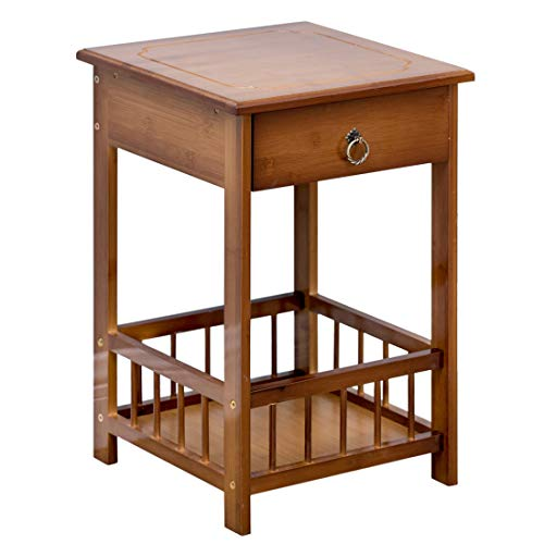 Bamboo Side Table 2-Tier Bedside Couch Sofa Chairside End Table with Drawer Multipurpose Home Furniture
