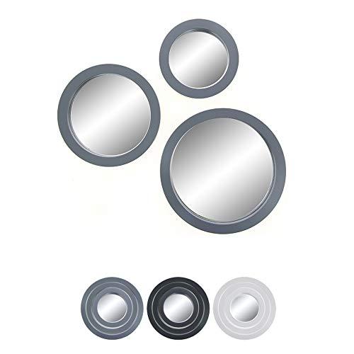 Juego de 3 espejos decorativos redondos, color gris, 3 tamaños diferentes para mejorar la decoración de pared de tu sala de estar, salón o cualquier habitación.