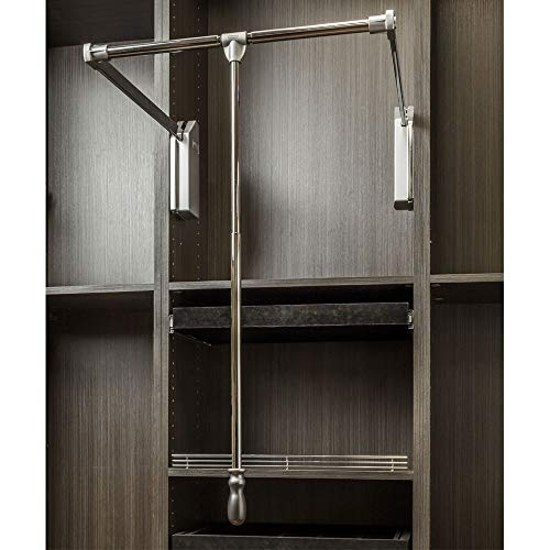 """Soft-Close Wardrobe Lift Polished Chrome Expanding Heavy duty steel Tubing with Silver Plastic Housing, 45 lb Weight Rating (For 33"""" – 48"""" openings)"""