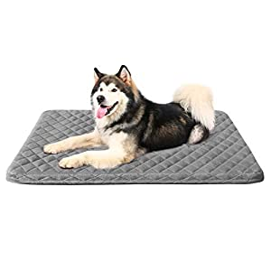 Large Dog Bed Crate Pad Mat Jumbo 47in Washable Pet Beds Anti Slip Dog Sleeping Mattress with Removable Cover Sliver Grey, XL