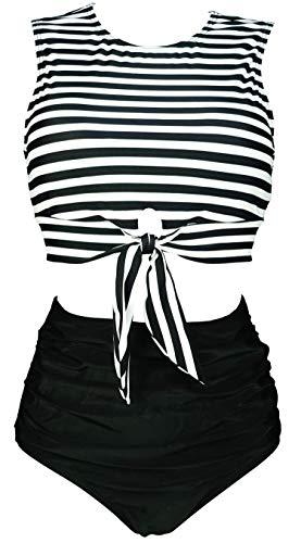 COCOSHIP Black & White Stripe Women's High Waist Ruched Bikini Set Tie Front Knot Tank Top Two Piece Tankini Ruffle Swimsuit 10