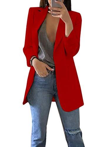 MINTLIMIT Damen Blazer Cardigan Dünn Geraffte Ärmel Elegant Bolero Business Jacke Blazer Slim Fit Anzug Trenchcoat Sakko Einfarbig Rot#1851 L