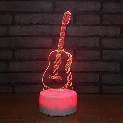 3D Illusion Lamp Night Light Kids Desk Lamp Gift Guitar 16 Colors Changing Touch Switch with Bluetooth Mobile App Control and USB Cable Decoration Lighting for Baby