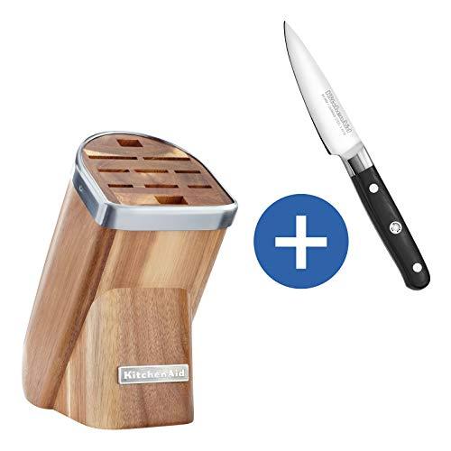 KitchenAid Messerblock Solo, Holz, helle Akazie, 30 x 25 x 20 cm