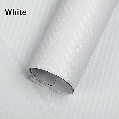 Baceyong - Rollo de vinilo de fibra de carbono 3D para automóviles y motocicletas, color blanco