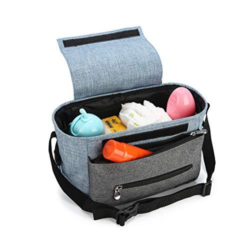 WireZoll Kinderwagen Organizer, Universele Baby Kinderwagen tas Buggy tas met stalen ring en verstelbare banden