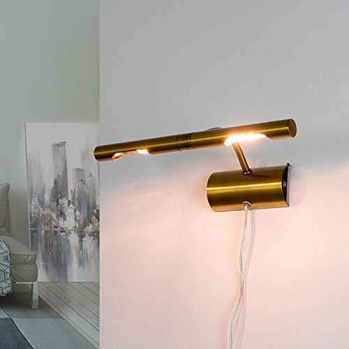 Elegante Bilderlampe mit Stecker in Bronze 2x G9 B:29cmklassisches Design Bilderleuchte Wandlampe Wohnzimmer