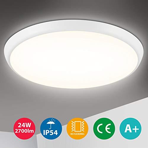 Oeegoo Deckenleuchte LED 24W, 2700LM Deckenlampe, IP54 Wasserdicht Badezimmer, Flimmerfreie Wohnzimmerlampe Küchenlampe Badlampe, LED Lampe für Schlafzimmer Kinderzimmer Bad Balkon Ø30cm 4000K
