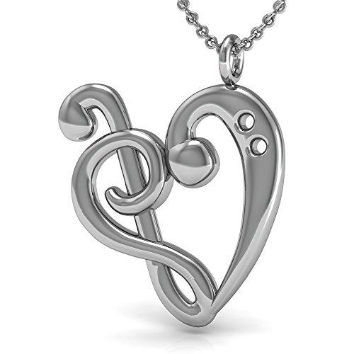 Die beste Musik Note Anhänger Halskette, 925Sterling Silber 45,7cm Halskette mit Herzen von Treble & Bass Clefs Anhänger