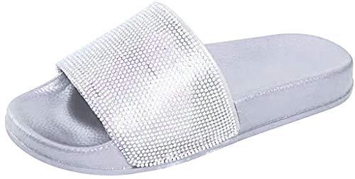MRULIC Damen Rutschen Sandalen Sparkle Sliders Pailletten Blume Gedrückt Hausschuhe Schuhe Home Flip Flop Slipper(Silber,39 EU)