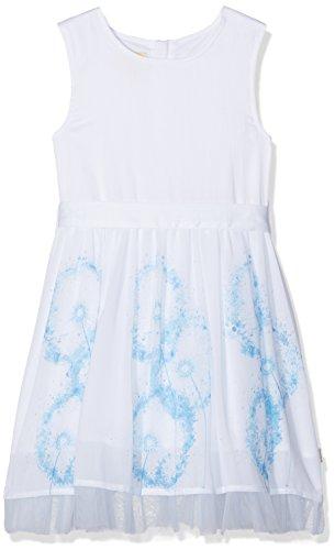 Pezzo D'oro Festtagskleid, Brautmädchenkleid, Kommunionkleid,weiß Blauer Druck (128)