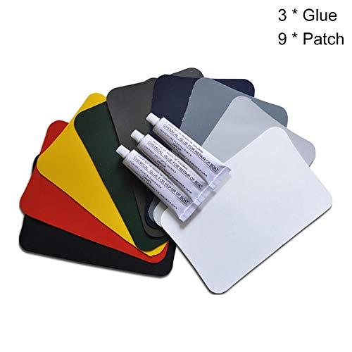 Groust Parches de PVC + pegamento, kit de reparación de parches de PVC, para botes inflables, kayak, canoa, juguete, tamaño del parche: 15 x 10 cm, capacidad adhesiva 30 ml