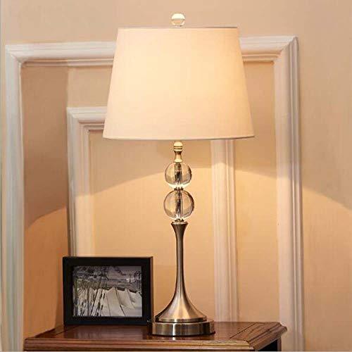 SYyshyin K9 Lámpara de mesa de cristal de cromo simple para habitación de hotel, casa, villa, sala de exposiciones, lámpara de mesa decorativa, 32 x 66 cm
