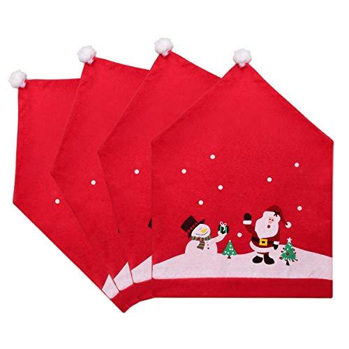 DegGod 4 stück Weihnachten Deko Stuhlhussen Set 60 * 49cm Weihnachten Stuhlbezug Rot Weihnachtsmütze Stuhlhusse Süß Weihnachtsmann Stuhlabdeckung für Weihnachts Mütze Stuhlhussen Dekorationen