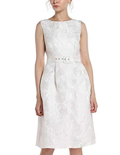 APART Elegantes Damen Kleid, Cocktailkleid, Brautkleid, aus Jacquard, crème-Farben, ärmellos, V-Ausschnitt im Rückenpart, Creme, 34