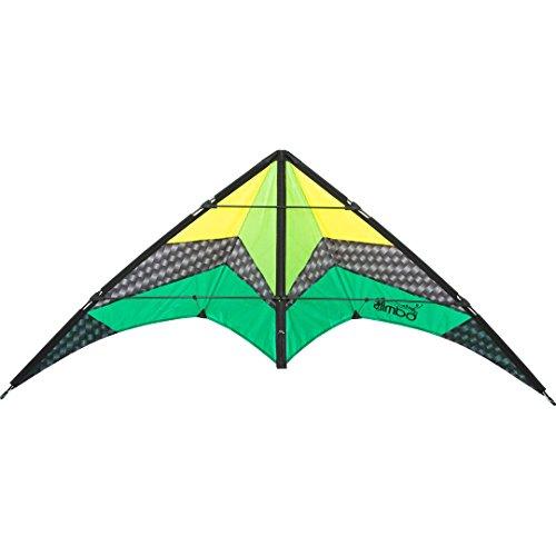 HQ 112381 - Limbo II Emerald, Zweileiner Lenkdrachen Allround, ab 10 Jahren, 67x155cm, inkl. 40kp Polyesterschnüre 2x20m auf Winder mit Schlaufen, 2-6 Beaufort