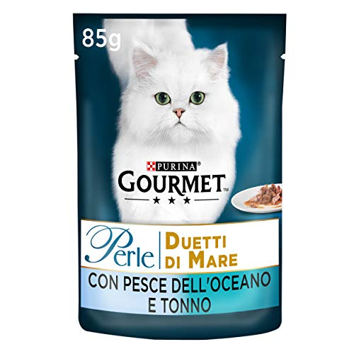 Gourmet Purina Perle Umido Gatto Duetti di Mare con Pesce Dell'Oceano e Tonno - 24 Buste da 85 g Ciascuna (Confezione da 24 x 85 g)