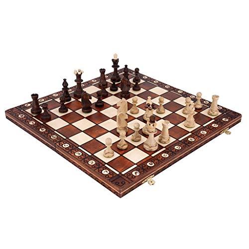 Schachbrett Schach, hochwertig, handgefertigt, Massivholz, groß, tragbar, faltbar, für Kinder und Erwachsene