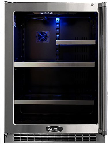 Marvel MPRO6GARM-BD-LL 24-Inch Professional Glass Refrigerator with Glass Overlay Left Hinge Door
